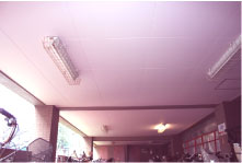 自転車置き場天井の塗装